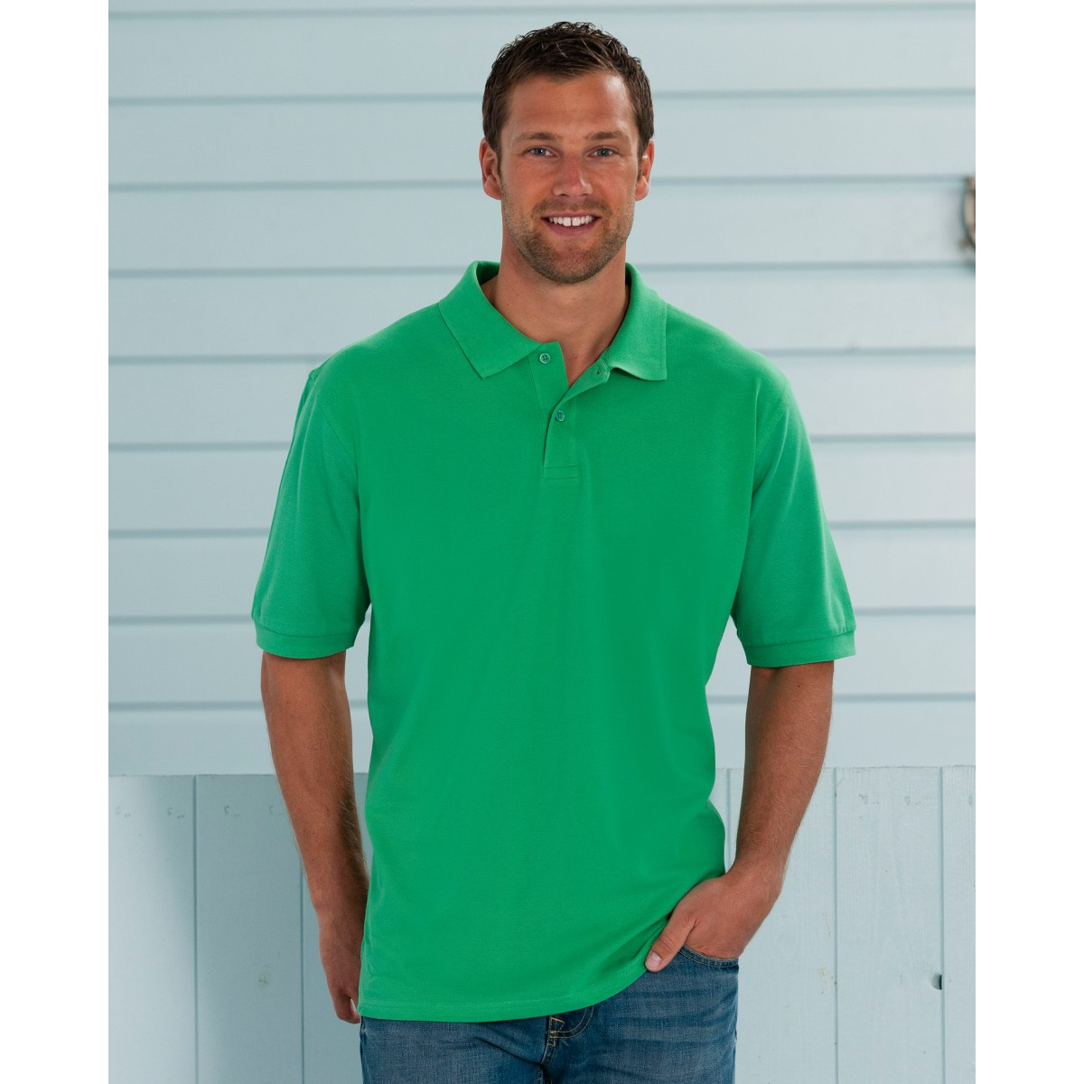 Russell men 39 s classic cotton polo shirt for Mens cotton polo shirts