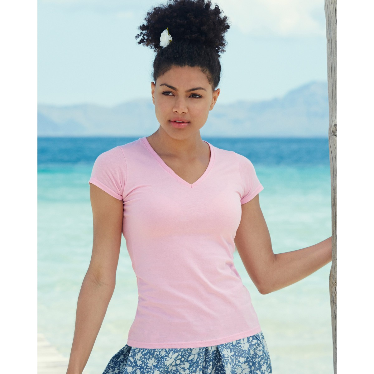 Fruit of the Loom Lady-Fit Valueweight V-Neck T-Shirt Womens Tops Ladies