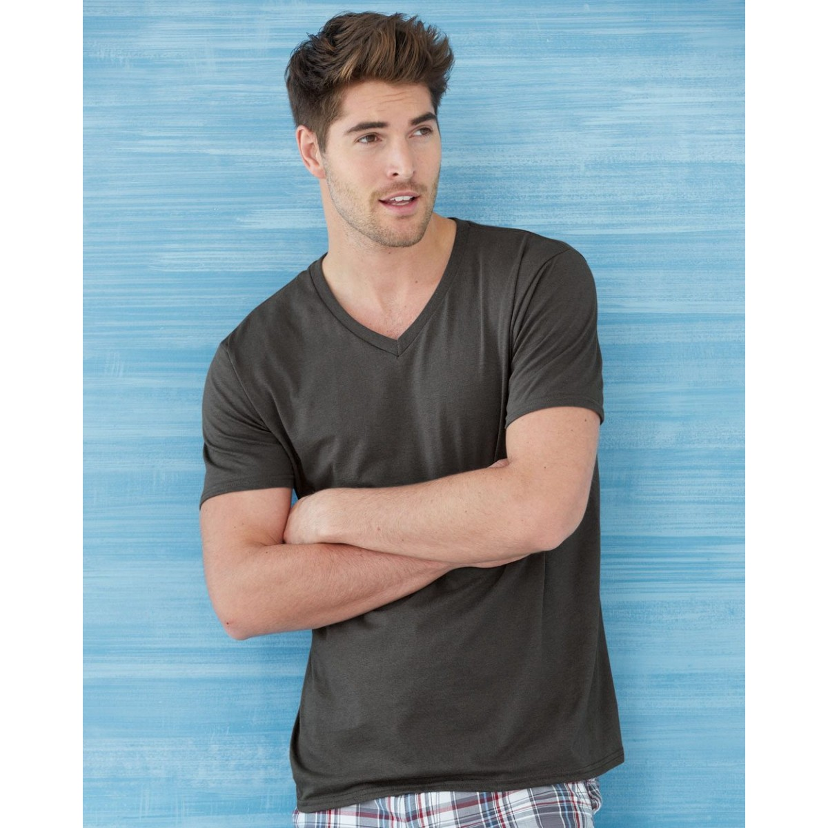 Uni Mens V Neck T Shirt For Screen Printing