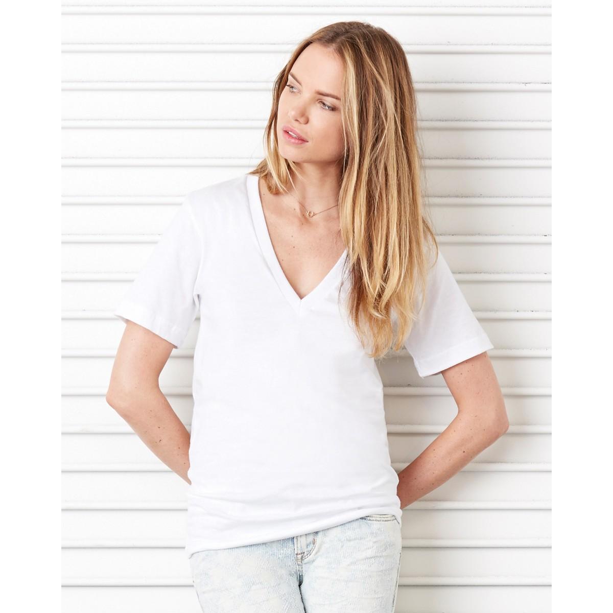 99232eba Bella Canvas Ladies Jersey Short Sleeve Deep V-Neck Tee