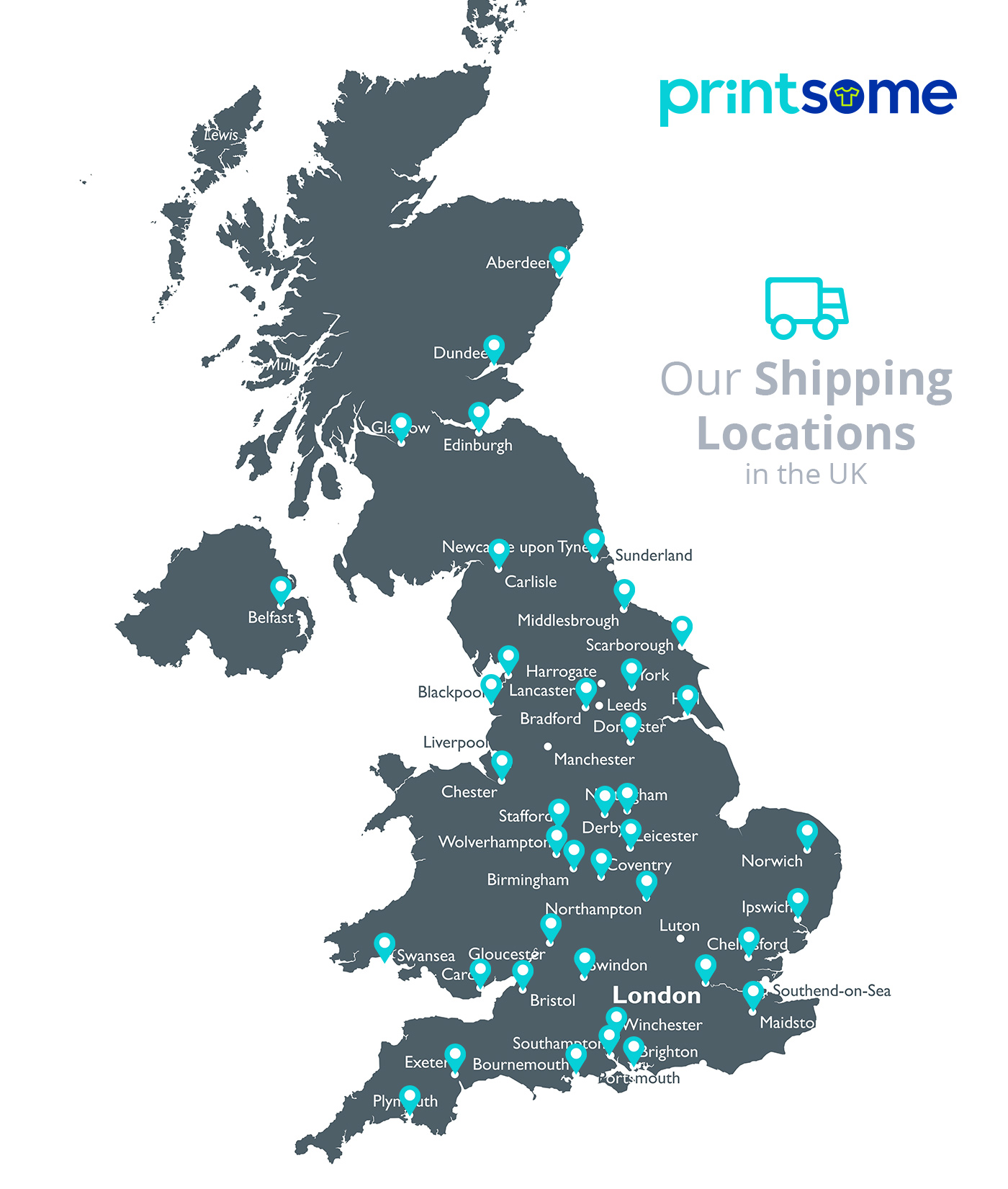 T shirt printing locations in UK map